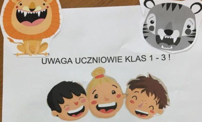 UWAGA UCZNIOWIE KLAS 1-3 !!!